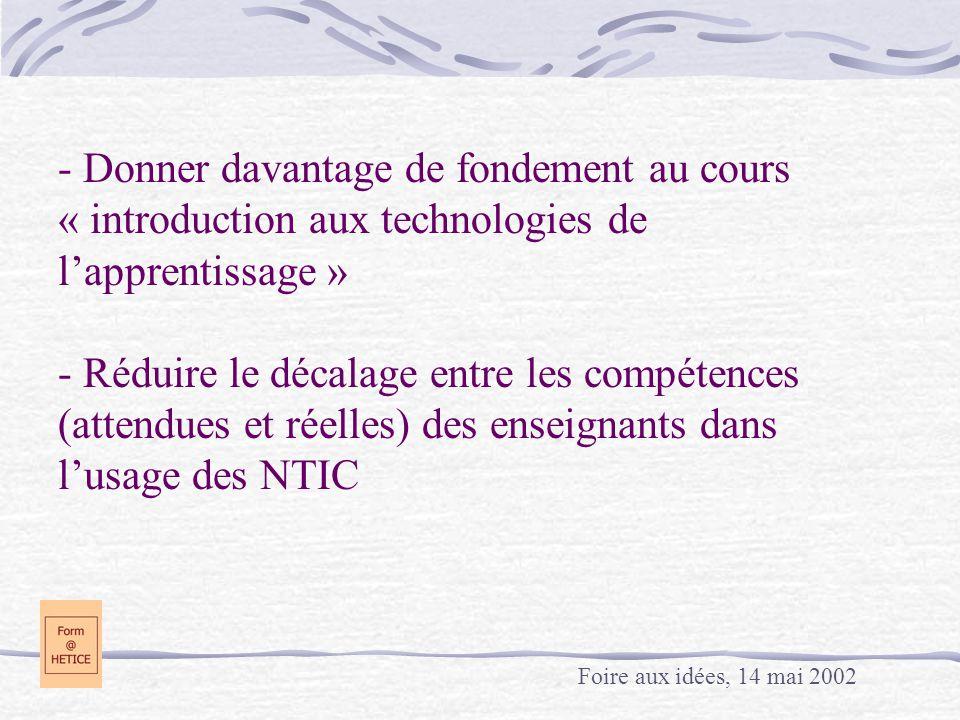 - Donner davantage de fondement au cours « introduction aux technologies de lapprentissage » - Réduire le décalage entre les compétences (attendues et