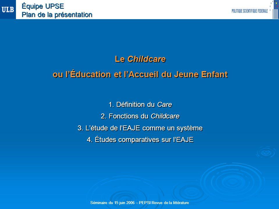 Séminaire du 15 juin 2006 – PEPSI Revue de la littérature Le Childcare ou lÉducation et lAccueil du Jeune Enfant 1.