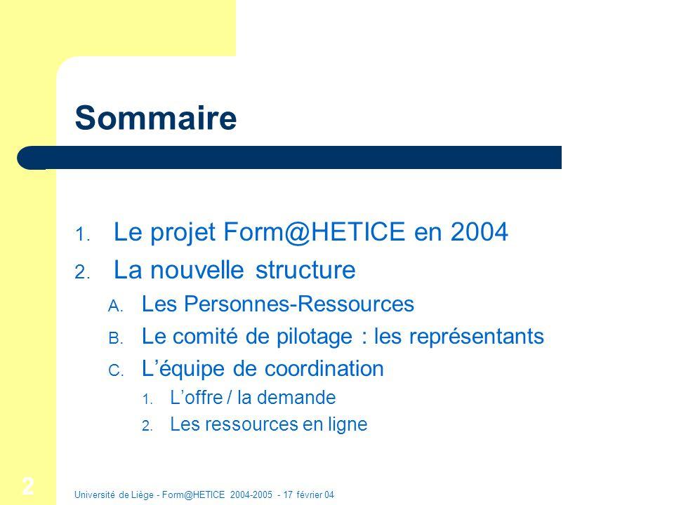 Université de Liège - Form@HETICE 2004-2005 - 17 février 04 3 1.