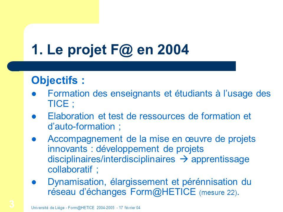 Université de Liège - Form@HETICE 2004-2005 - 17 février 04 14 Exemples de structure de ressources Ressource « Utilisation pédagogique et technique de PPT » Ressource « Administration dune plate-forme denseignement à distance » IntroductionCadre théoriqueExploit.