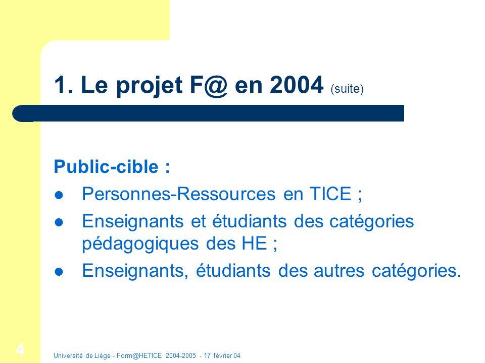 Université de Liège - Form@HETICE 2004-2005 - 17 février 04 15 Monographies Canevas : descriptions dexpériences en HE : 1.
