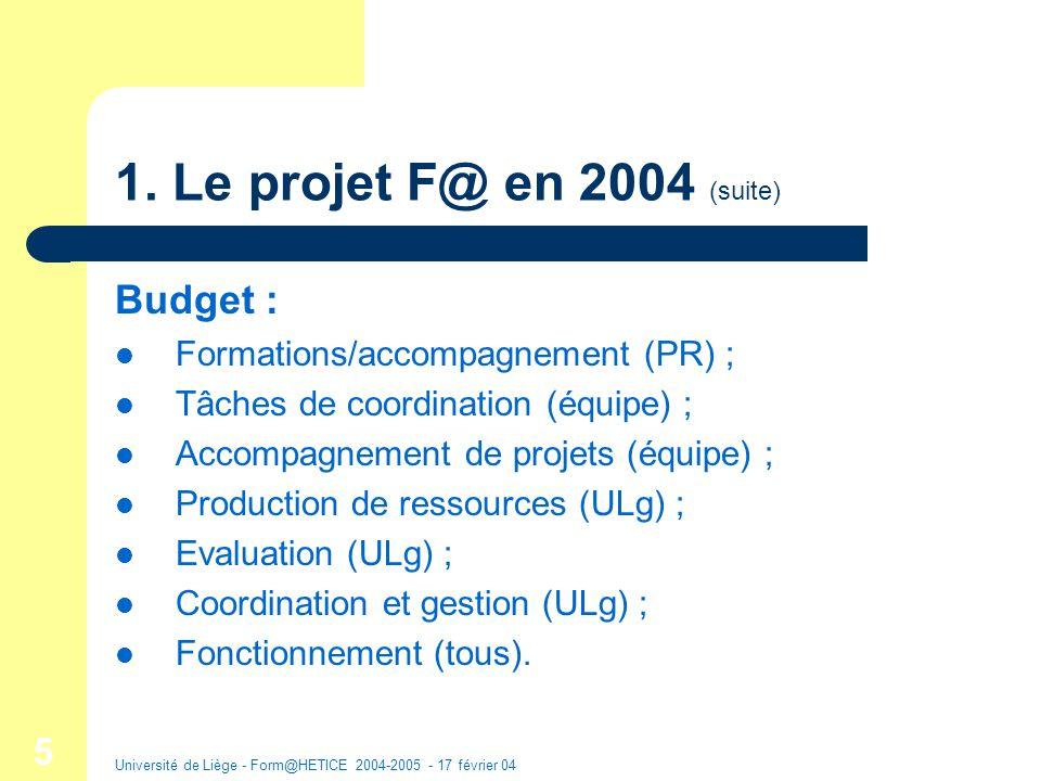 Université de Liège - Form@HETICE 2004-2005 - 17 février 04 16 Monographies Canevas : descriptions dexpériences en HE : 2.