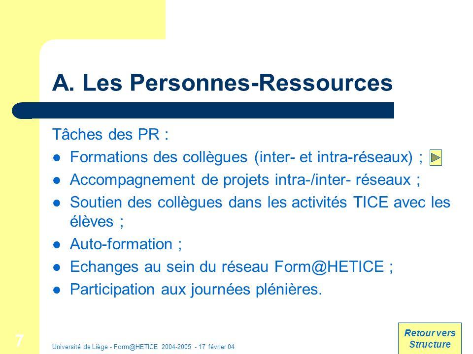 Université de Liège - Form@HETICE 2004-2005 - 17 février 04 18 Exemple : Fiche de la formation Outil de communication Organisation : ULg Formateurs : Date : Mardi 7 juin 2003 Durée : 1 jour Lieu : http://www.ulg.ac.be/acces/plans/zonenord.htmlhttp://www.ulg.ac.be/acces/plans/zonenord.html Problématique : Objectifs : Méthodologie : Coord : ressources