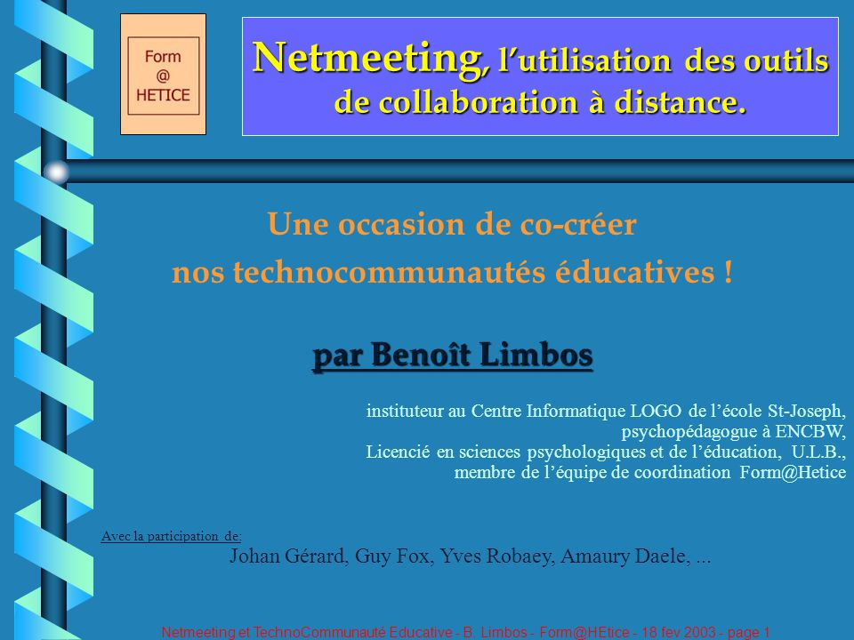 Netmeeting et TechnoCommunauté Educative - B.