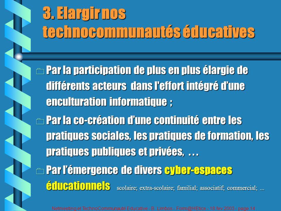 Netmeeting et TechnoCommunauté Educative - B. Limbos - Form@HEtice - 18 fev 2003 - page 14 3. Elargir nos technocommunautés éducatives 0 Par la partic