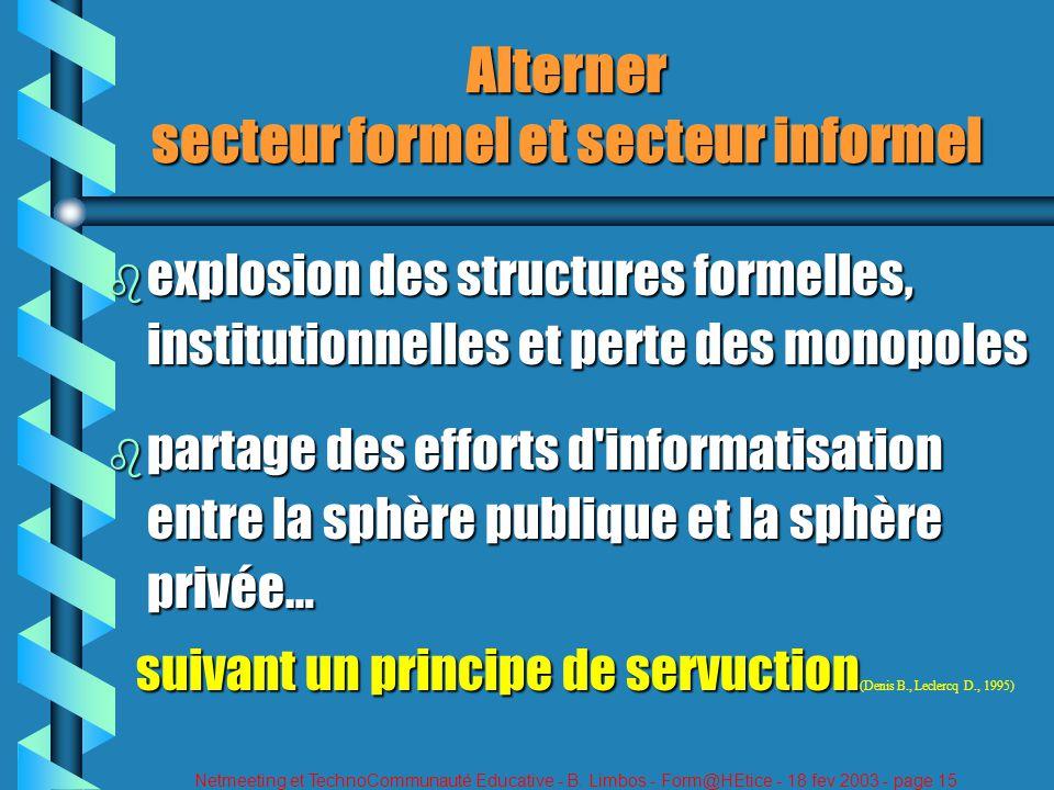 Netmeeting et TechnoCommunauté Educative - B. Limbos - Form@HEtice - 18 fev 2003 - page 15 Alterner secteur formel et secteur informel b explosion des
