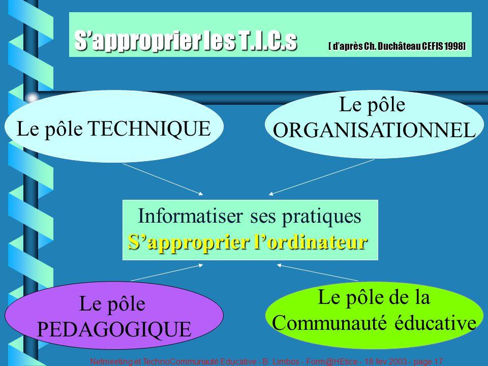 Netmeeting et TechnoCommunauté Educative - B. Limbos - Form@HEtice - 18 fev 2003 - page 17 Sapproprier les T.I.C.s [ daprès Ch. Duchâteau CEFIS 1998]
