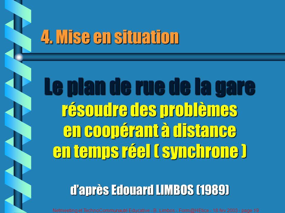 Netmeeting et TechnoCommunauté Educative - B. Limbos - Form@HEtice - 18 fev 2003 - page 19 4. Mise en situation Le plan de rue de la gare résoudre des