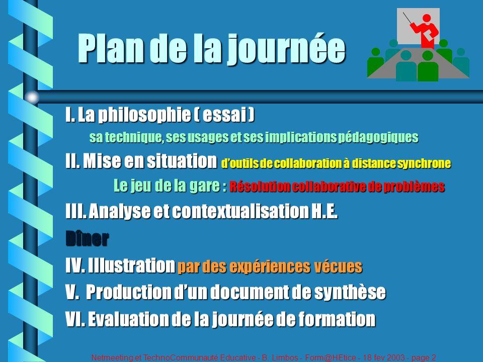 Netmeeting et TechnoCommunauté Educative - B. Limbos - Form@HEtice - 18 fev 2003 - page 2 Plan de la journée I. La philosophie ( essai ) sa technique,