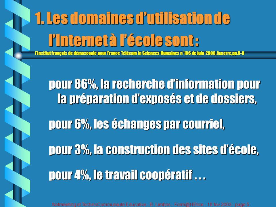 Netmeeting et TechnoCommunauté Educative - B. Limbos - Form@HEtice - 18 fev 2003 - page 5 1. Les domaines dutilisation de lInternet à lécole sont : lI