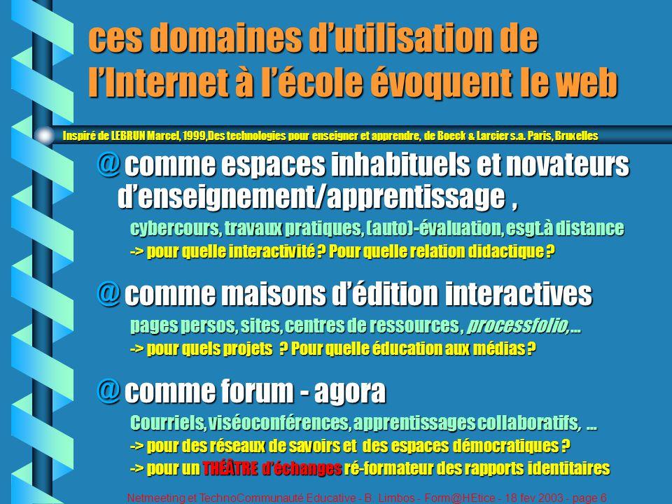 Netmeeting et TechnoCommunauté Educative - B. Limbos - Form@HEtice - 18 fev 2003 - page 6 ces domaines dutilisation de lInternet à lécole évoquent le