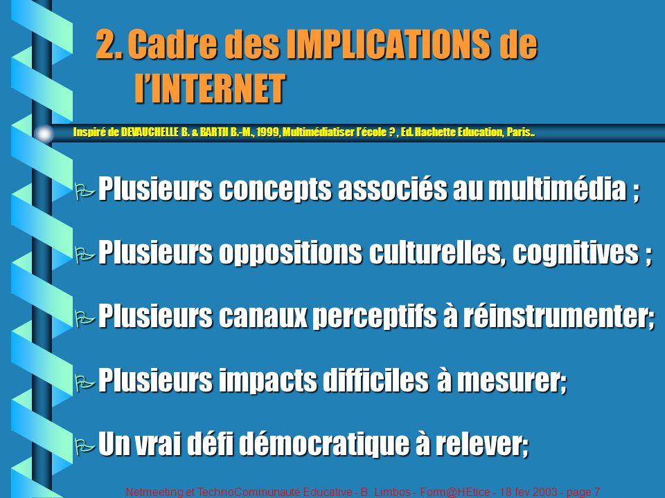 Netmeeting et TechnoCommunauté Educative - B. Limbos - Form@HEtice - 18 fev 2003 - page 7 2. Cadre des IMPLICATIONS de lINTERNET Inspiré de DEVAUCHELL