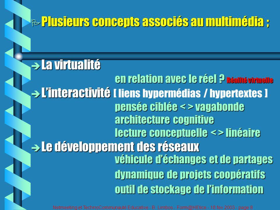 Netmeeting et TechnoCommunauté Educative - B. Limbos - Form@HEtice - 18 fev 2003 - page 8 P Plusieurs concepts associés au multimédia ; è La virtualit