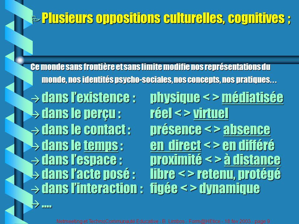 Netmeeting et TechnoCommunauté Educative - B. Limbos - Form@HEtice - 18 fev 2003 - page 9 P Plusieurs oppositions culturelles, cognitives ; Ce monde s