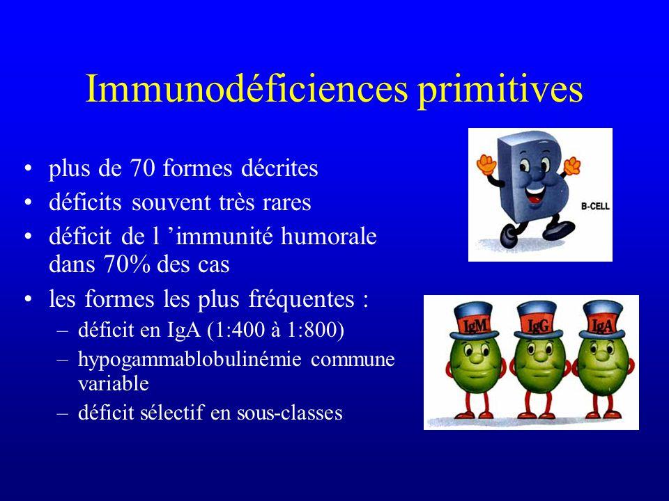 Types dinfection Complément –septicémies et méningites à germes encapsulés Phagocytes –infections de la peau et du système réticulo-endothélial (gangl