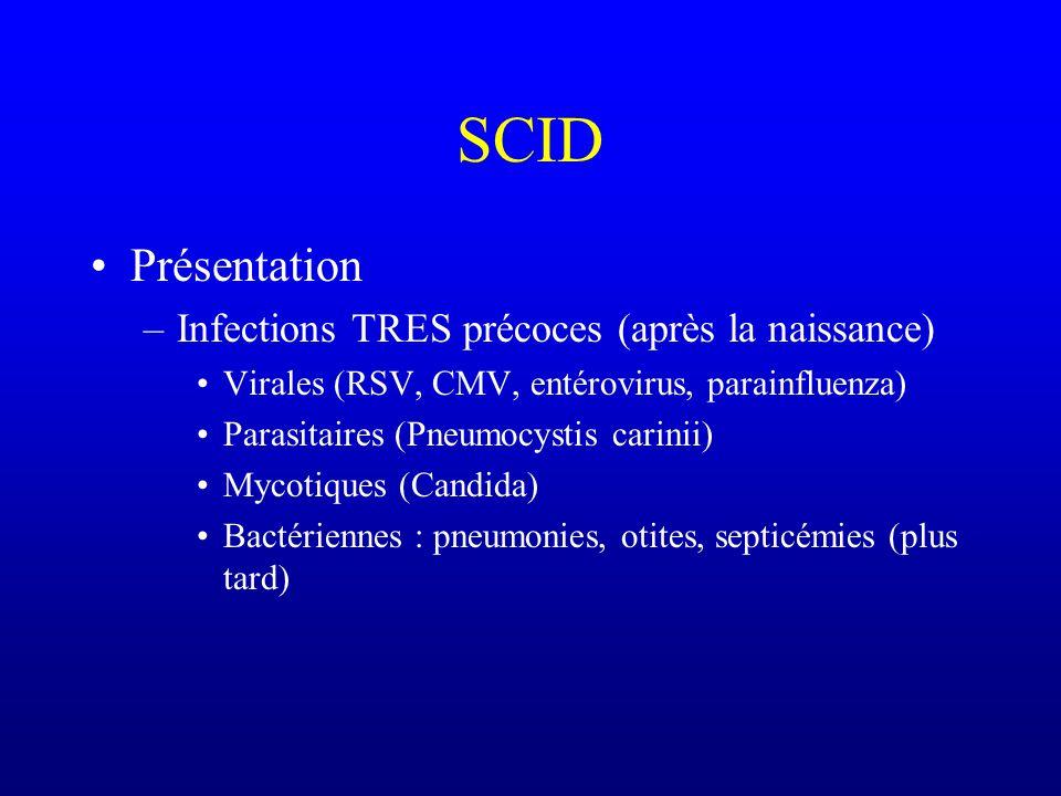 SCID Plusieurs types de SCID Toujours déficit majeur de limmunité cellulaire –Déficit secondaire de limmunopoïèse B (maturation daffinité, commutation