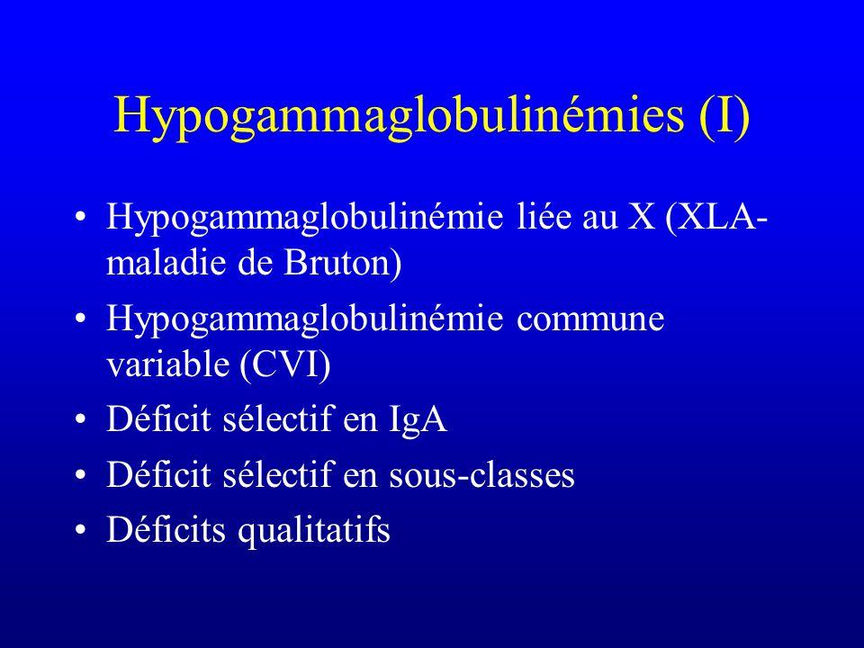 Autres causes de SCID Déficit en ADA (Adénosine désaminase) (20%) –Effets toxiques du dATP et de la S-adénosyl homocystéine Déficit en produits MHC de
