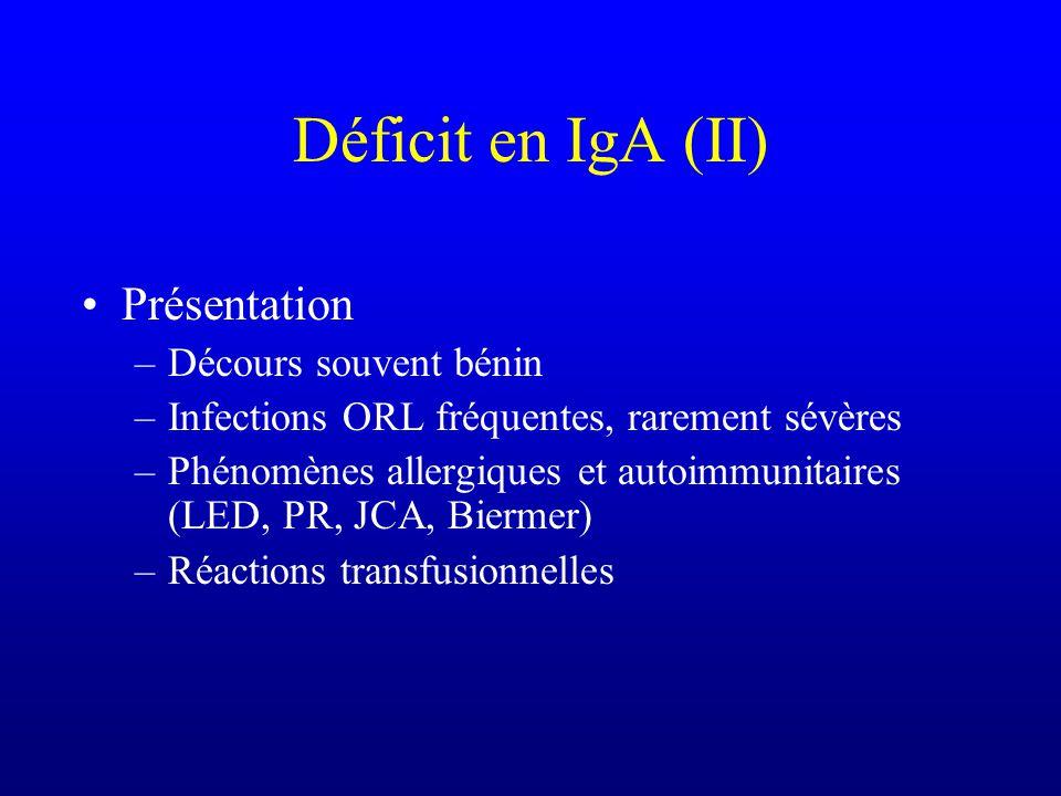 Déficit en IgA Très fréquent : 1/400 à 1/800 Etiologie –Contexte génétique Famille de CVID B8DR3 –Le plus souvent déficit des IgA sériques & des IgA s