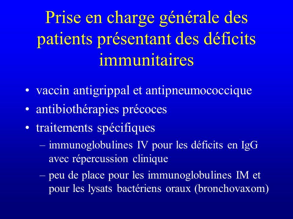 Prise en charge générale des patients présentant des déficits immunitaires mesures générales dhygiène éliminer allergènes si atopie kiné respiratoire