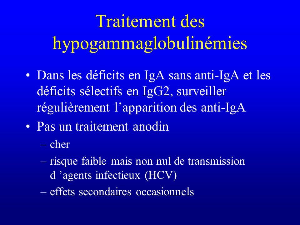 Traitement des hypogammaglobulinémies Immunoglobulines par voie intraveineuse Toutes les 3 à 4 semaines Viser une concentration résiduelle dIgG supéri