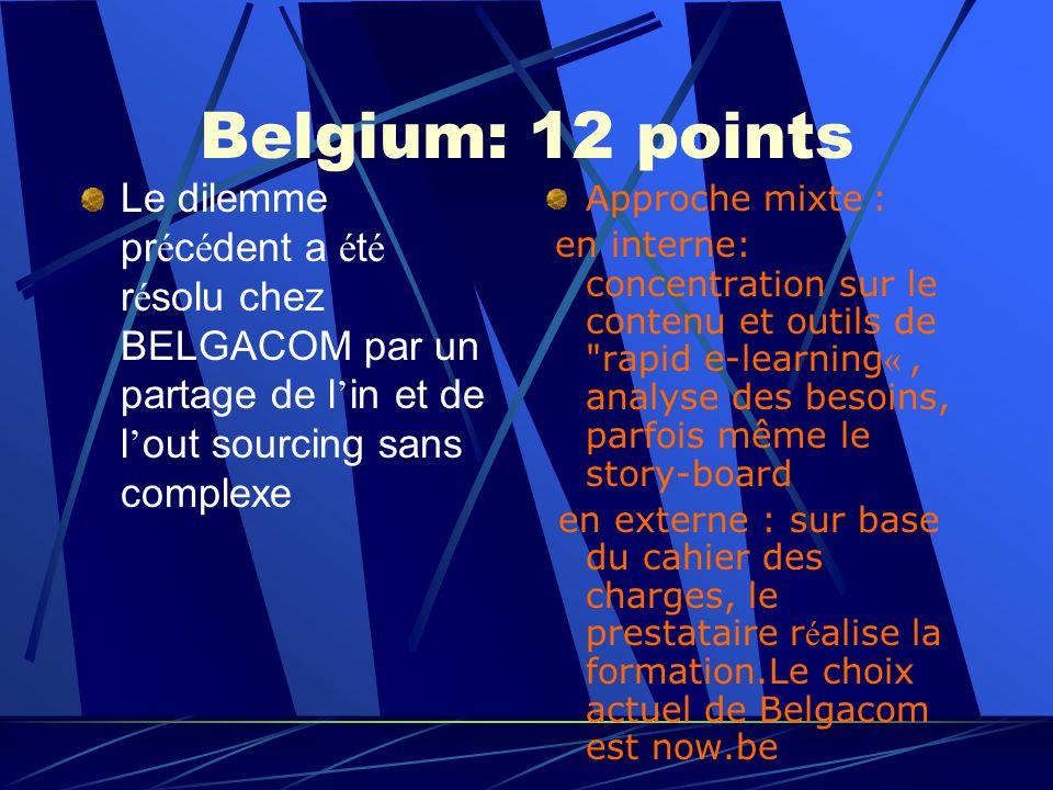 Belgium: 12 points Le dilemme pr é c é dent a é t é r é solu chez BELGACOM par un partage de l in et de l out sourcing sans complexe Approche mixte : en interne: concentration sur le contenu et outils de rapid e-learning «, analyse des besoins, parfois même le story-board en externe : sur base du cahier des charges, le prestataire r é alise la formation.Le choix actuel de Belgacom est now.be