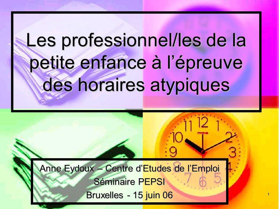 1 Les professionnel/les de la petite enfance à lépreuve des horaires atypiques Anne Eydoux – Centre dEtudes de lEmploi Séminaire PEPSI Bruxelles - 15