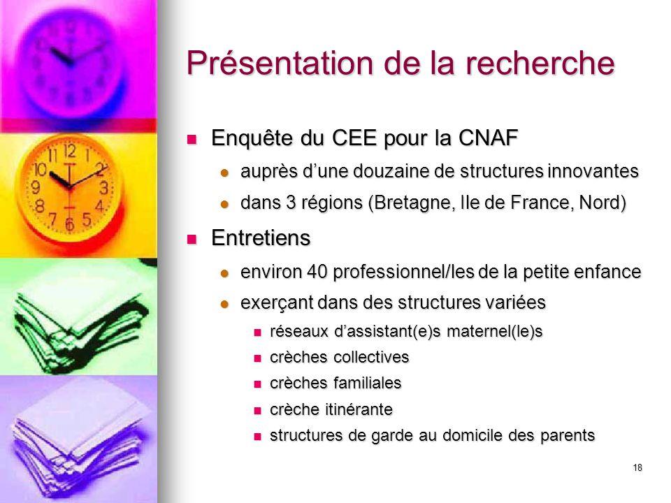 18 Présentation de la recherche Enquête du CEE pour la CNAF Enquête du CEE pour la CNAF auprès dune douzaine de structures innovantes auprès dune douz