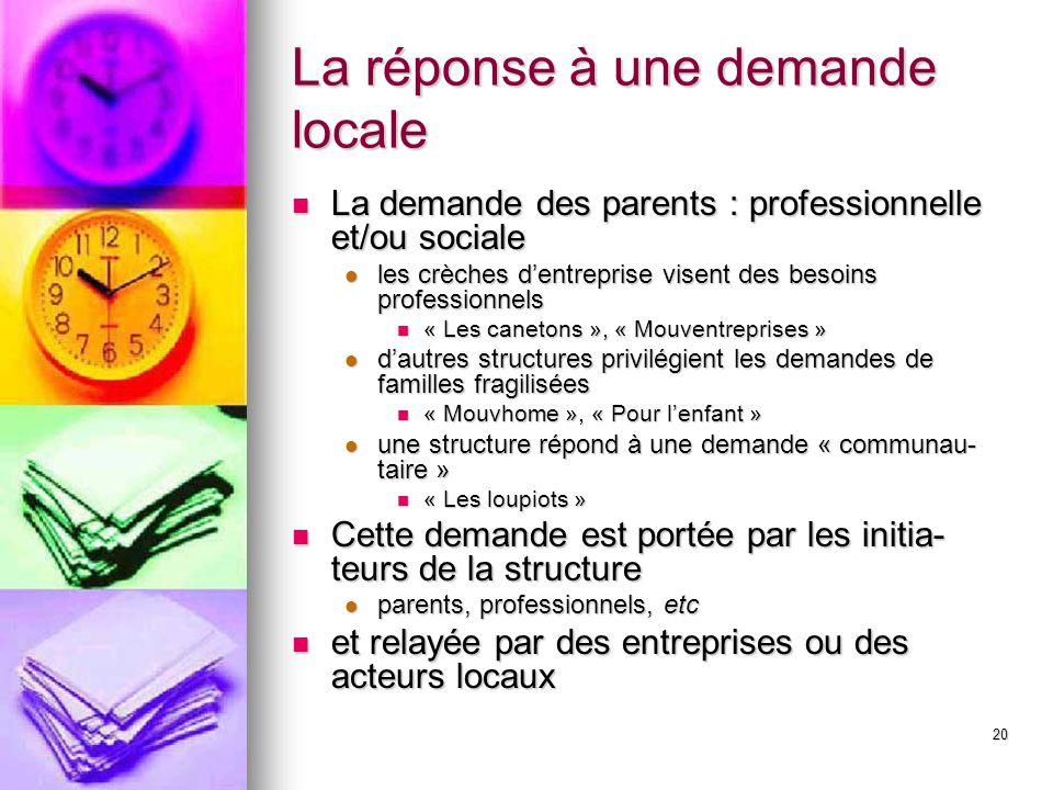 20 La réponse à une demande locale La demande des parents : professionnelle et/ou sociale La demande des parents : professionnelle et/ou sociale les c