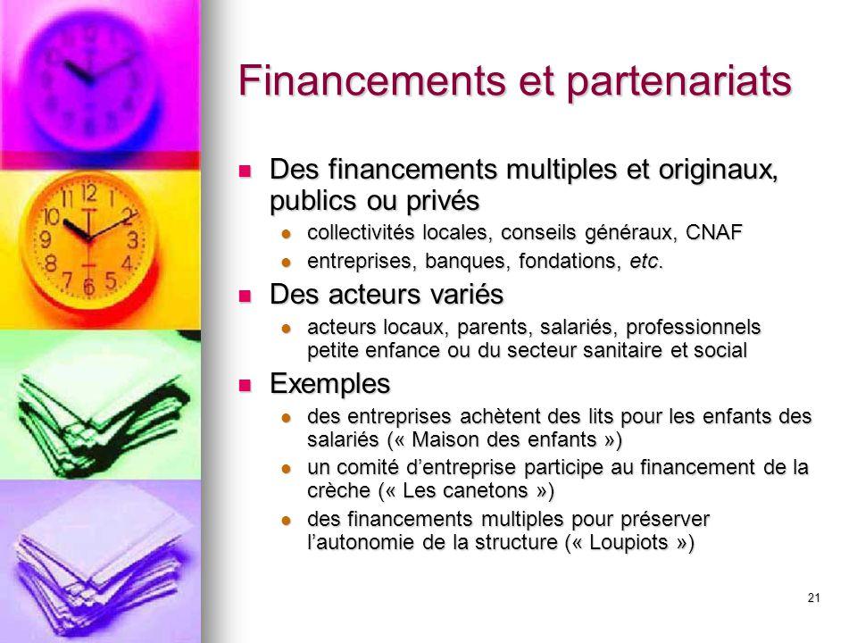 21 Financements et partenariats Des financements multiples et originaux, publics ou privés Des financements multiples et originaux, publics ou privés