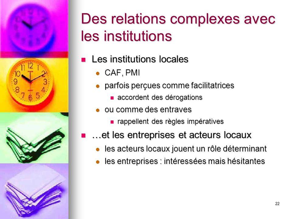 22 Des relations complexes avec les institutions Les institutions locales Les institutions locales CAF, PMI CAF, PMI parfois perçues comme facilitatri