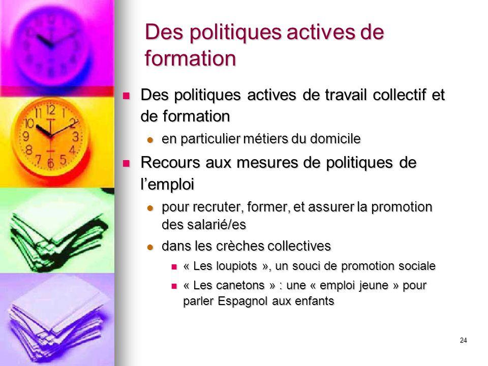 24 Des politiques actives de formation Des politiques actives de travail collectif et de formation Des politiques actives de travail collectif et de f