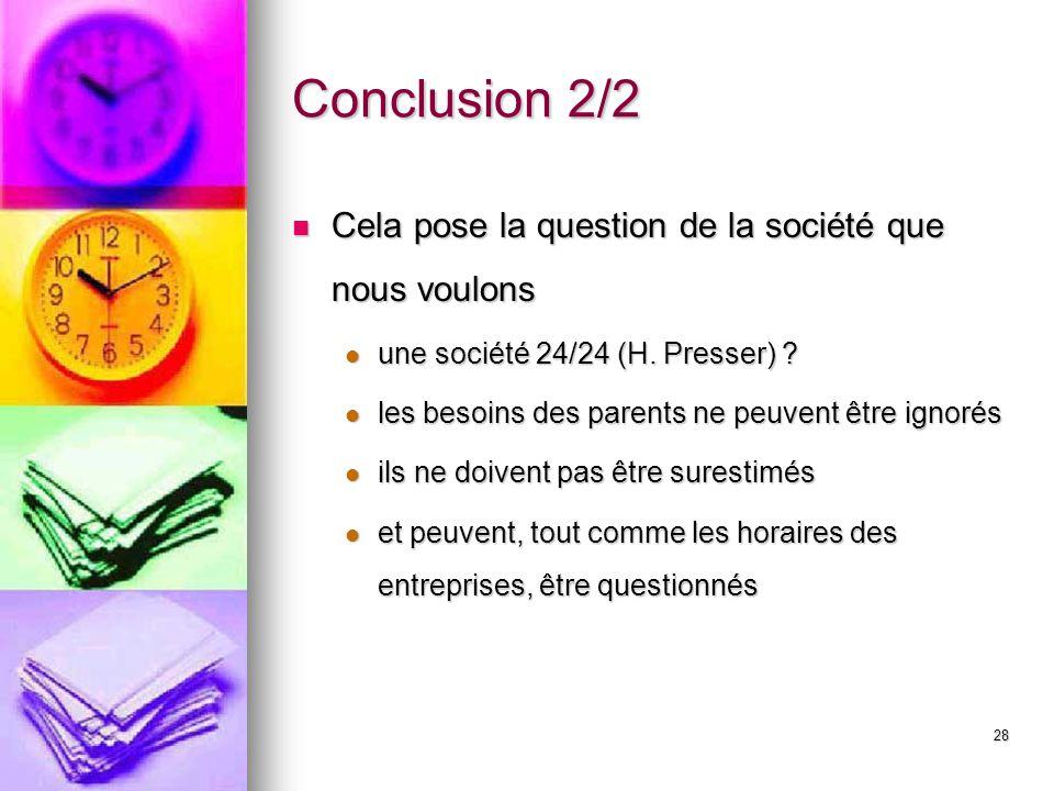 28 Conclusion 2/2 Cela pose la question de la société que nous voulons Cela pose la question de la société que nous voulons une société 24/24 (H. Pres