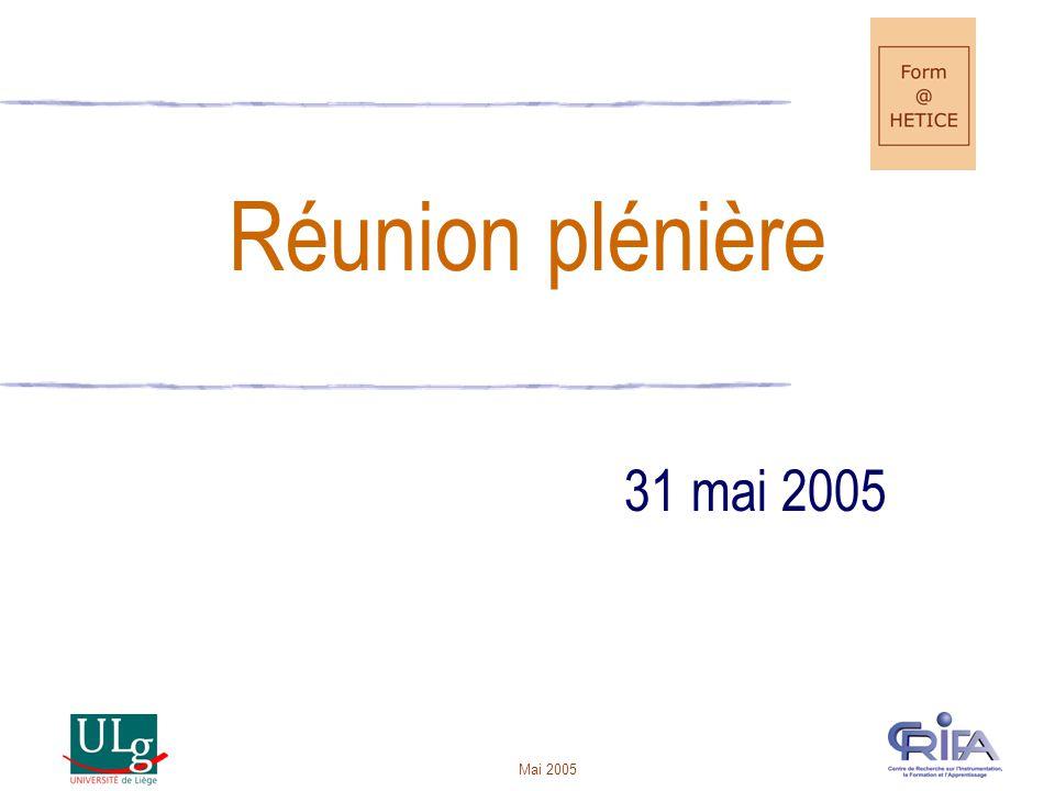 Mai 2005 Réunion plénière 31 mai 2005