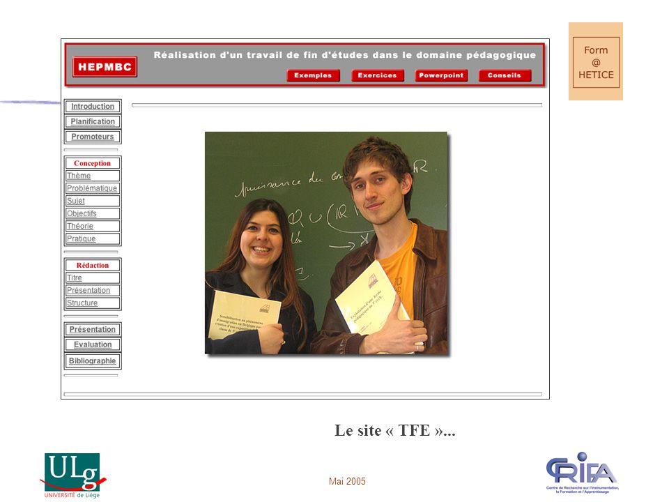 Mai 2005 Le site « TFE »...
