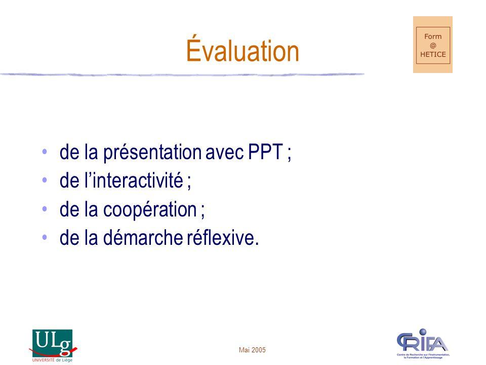 Mai 2005 Évaluation de la présentation avec PPT ; de linteractivité ; de la coopération ; de la démarche réflexive.