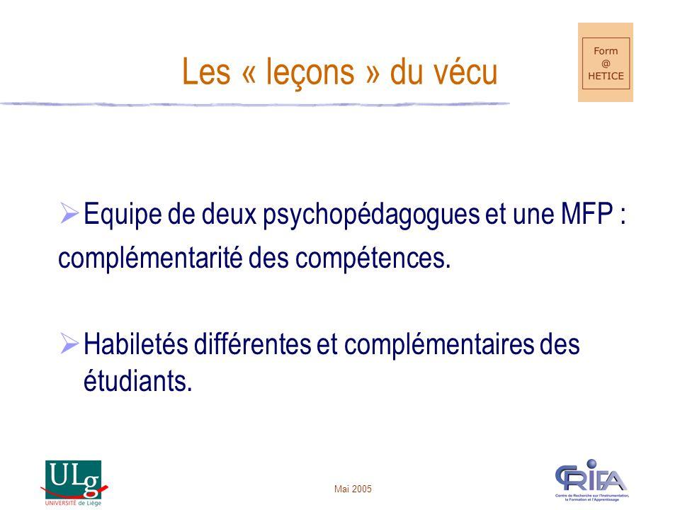 Mai 2005 Les « leçons » du vécu Equipe de deux psychopédagogues et une MFP : complémentarité des compétences.