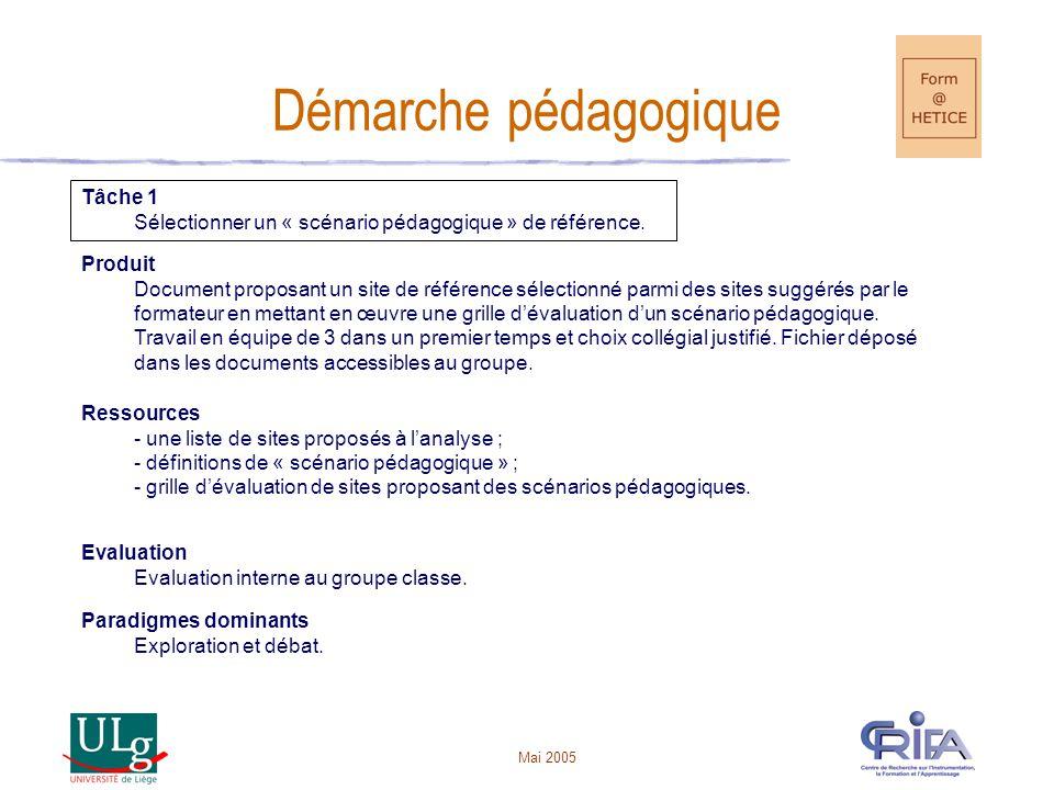 Mai 2005 Démarche pédagogique Tâche 1 Sélectionner un « scénario pédagogique » de référence.
