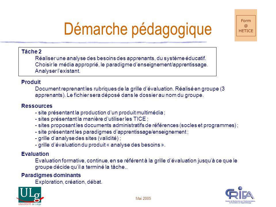 Mai 2005 Démarche pédagogique Tâche 2 Réaliser une analyse des besoins des apprenants, du système éducatif.