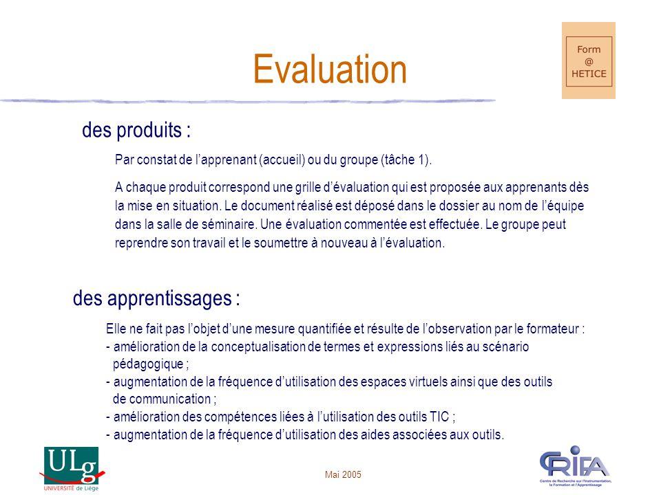 Mai 2005 Evaluation des produits : Par constat de lapprenant (accueil) ou du groupe (tâche 1).