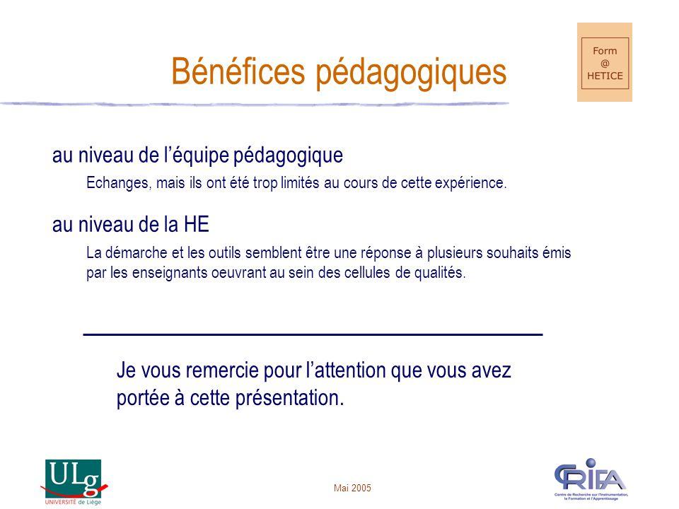Mai 2005 Bénéfices pédagogiques au niveau de léquipe pédagogique Echanges, mais ils ont été trop limités au cours de cette expérience.