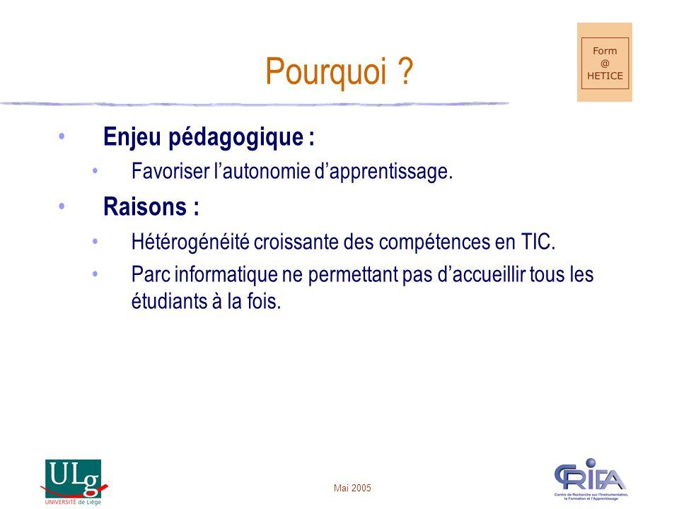 Mai 2005 Pourquoi .Enjeu pédagogique : Favoriser lautonomie dapprentissage.