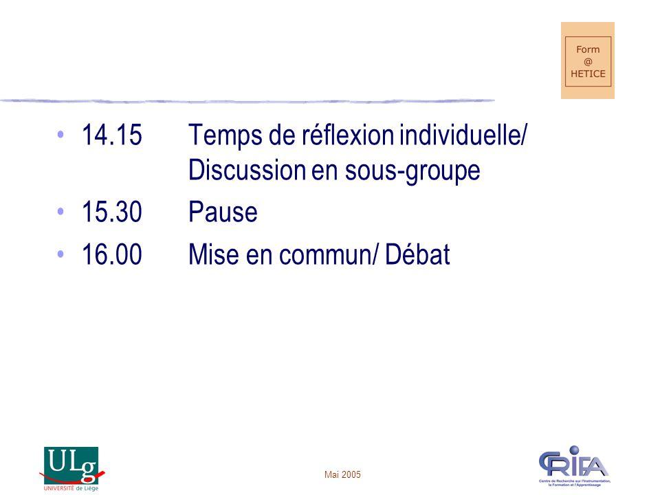 Mai 2005 14.15Temps de réflexion individuelle/ Discussion en sous-groupe 15.30Pause 16.00Mise en commun/ Débat