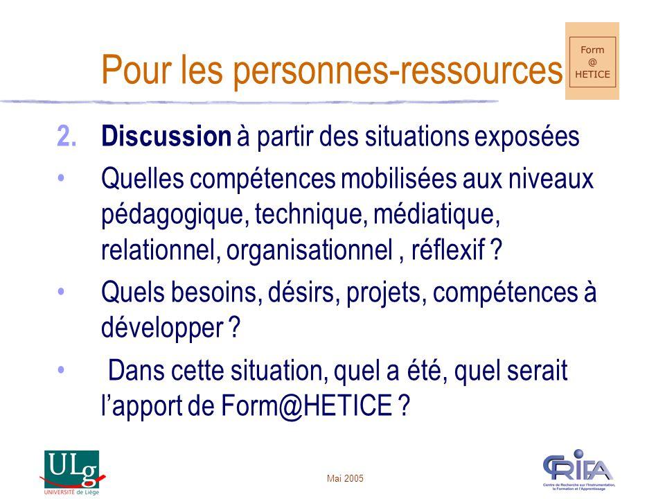 Mai 2005 Pour les personnes-ressources 2.Discussion à partir des situations exposées Quelles compétences mobilisées aux niveaux pédagogique, technique, médiatique, relationnel, organisationnel, réflexif .