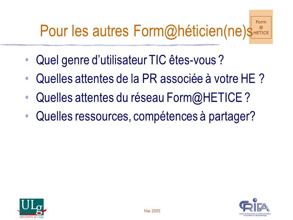 Mai 2005 Pour les autres Form@héticien(ne)s Quel genre dutilisateur TIC êtes-vous .
