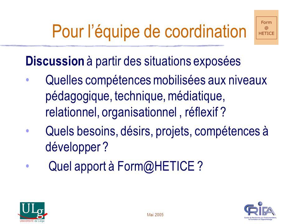 Mai 2005 Pour léquipe de coordination Discussion à partir des situations exposées Quelles compétences mobilisées aux niveaux pédagogique, technique, médiatique, relationnel, organisationnel, réflexif .