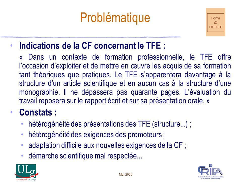 Mai 2005 Indications de la CF concernant le TFE : « Dans un contexte de formation professionnelle, le TFE offre loccasion dexploiter et de mettre en œuvre les acquis de sa formation tant théoriques que pratiques.