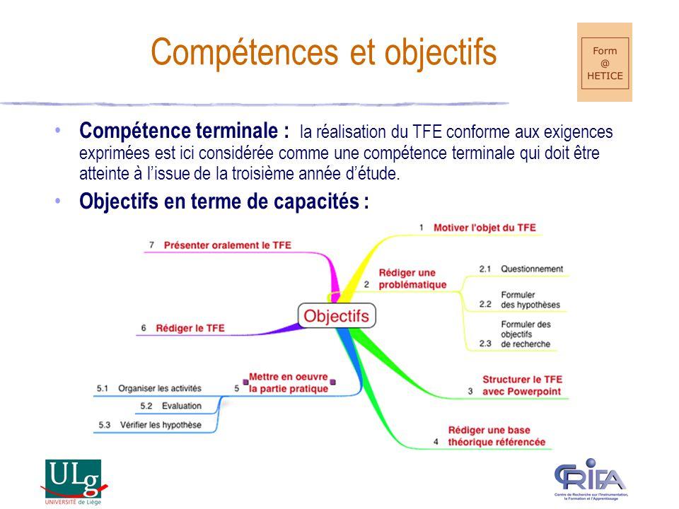 Compétence terminale : la réalisation du TFE conforme aux exigences exprimées est ici considérée comme une compétence terminale qui doit être atteinte à lissue de la troisième année détude.