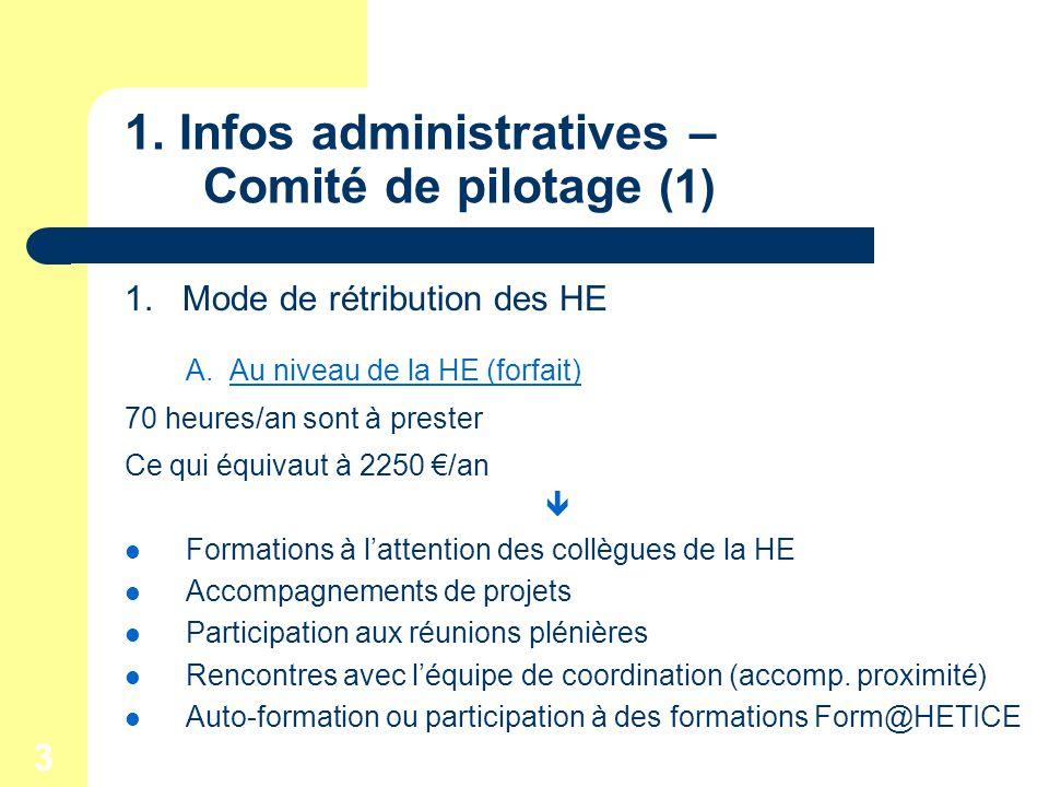 3 1. Infos administratives – Comité de pilotage (1) 1.