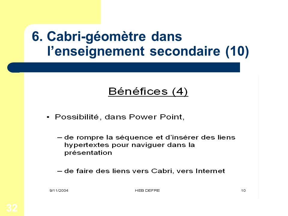 32 6. Cabri-géomètre dans lenseignement secondaire (10)