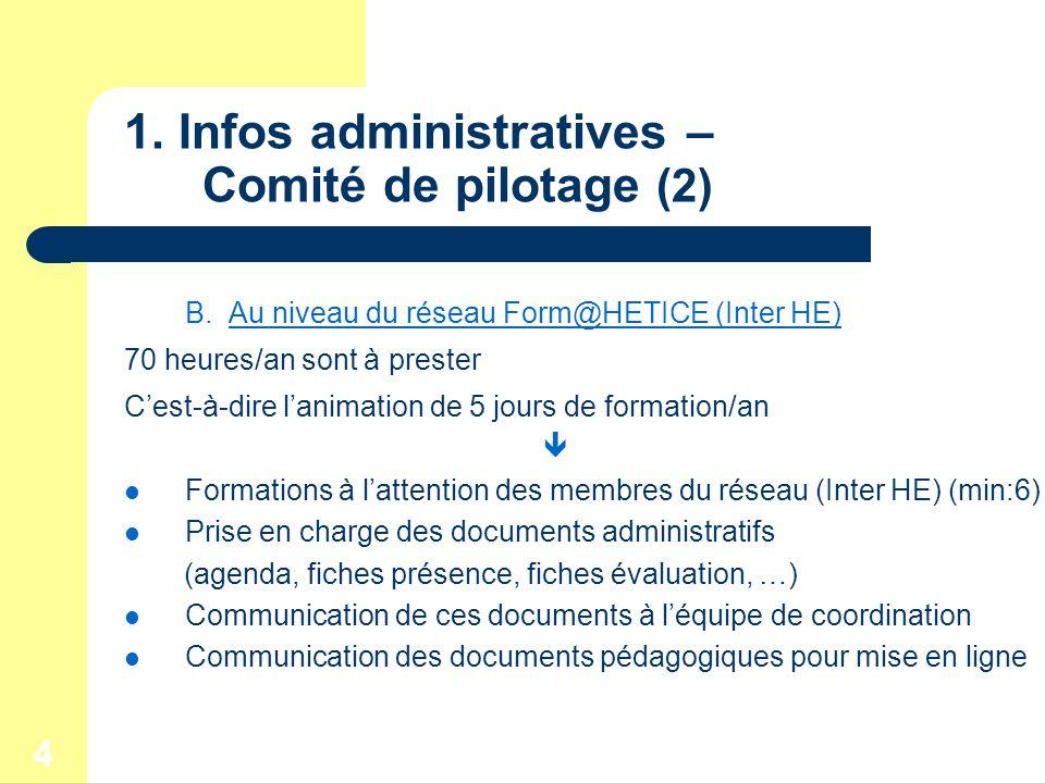 4 1. Infos administratives – Comité de pilotage (2) B.